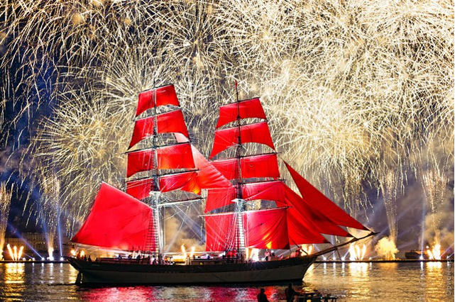 "The grand celebration of graduating from schools ""Scarlet Sails - 2019"" St. Petersburg, June 23"